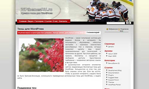 Тема для WordPress Hockey
