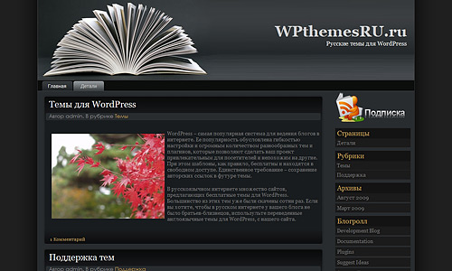 Тема с книгой для WordPress